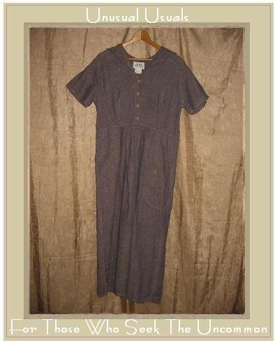 FLAX Purple Textured Linen Dress Jeanne Engelhart SMALL S