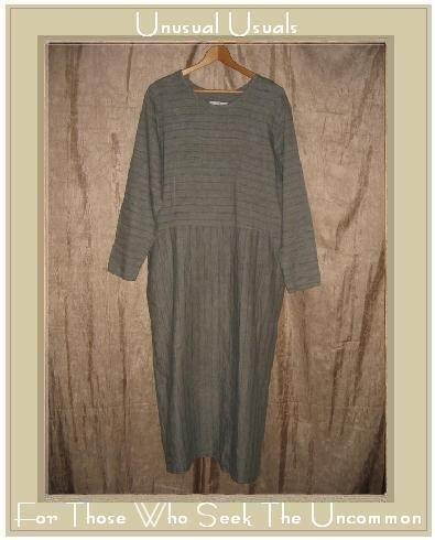 FLAX by Jeanne Engelhart Striped LINEN Pin Tuck Dress SMALL S