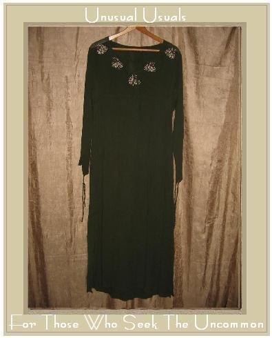 FUNKY PEOPLE Green Embroidered Drawstring Waist Dress Medium M