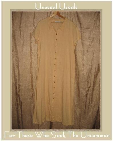 WILLOW Long Earthy Yellow LINEN Button Dress Large L