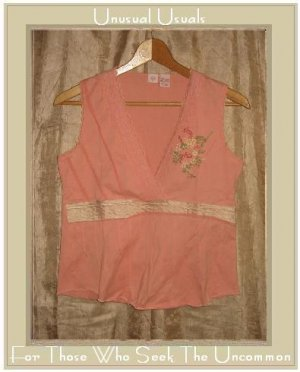 Heart Soft Coral & Lace Knit Tank Top Shirt Medium M
