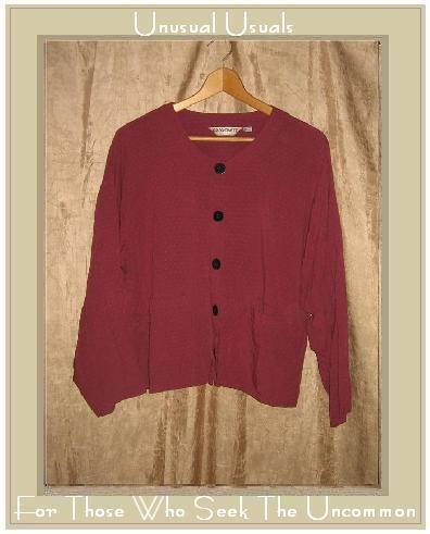 ASAICRAFT Textured Berry Boxy Button Jacket Shirt Top Large L