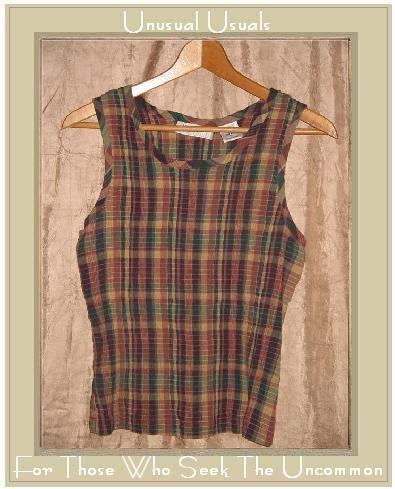 Lemon Grass Puckered Plaid Pullover Tank Top Shirt X-LARGE XL