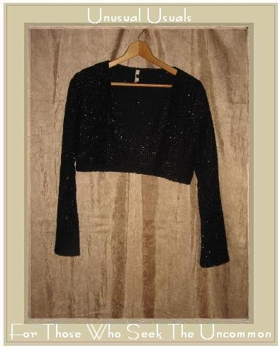 CLOTHESPIN Cropped Black Sparkle Knit Jacket Small S