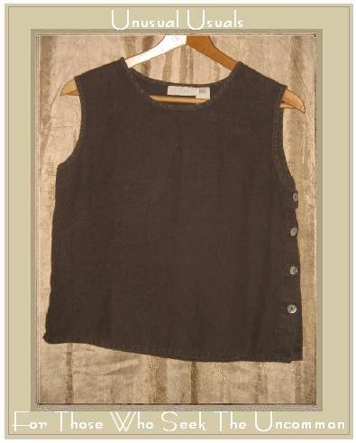 J. Jill Soft Brown LINEN Side Button Tank Top Shirt X-Small Petite XSP