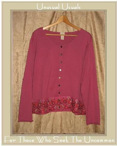 J. Jill Embroidered Fuchsia Knit Cardigan Shirt Top X-Large XL