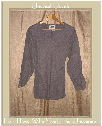FLAX Jeanne Engelhart Thermal Linen Pullover Shirt Tunic Top Medium M