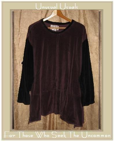 Angelheart Design by Jeanne Engelhart Flax Velour Peplum Tunic Top Shirt LARGE L