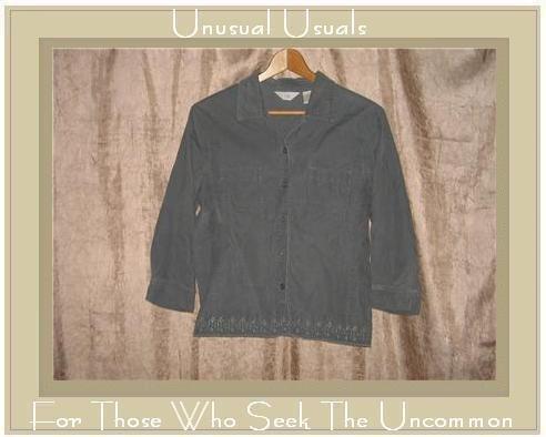 J. Jill Embroidered Green Corduroy Button Shirt Top Small S
