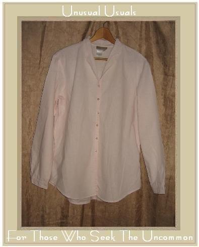 Coldwater Creek Pink LINEN COTTON Button Shirt Tunic Top MEdium M