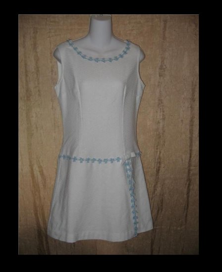 Vintage White Tunic Dress Scorts with Blue Flower Trim 60's Small S