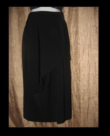 New LILITH of France Long Black Assymetric Gathered Skirt Small S