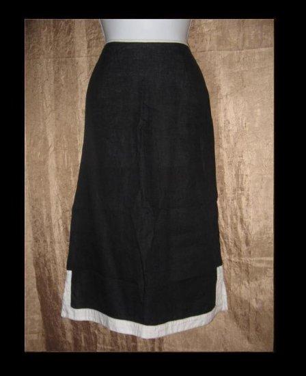 SOLITAIRE Long Black & White Linen Skirt Engelhart FLAX Medium M