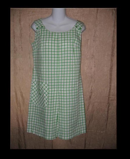 WPC Fashions Vintage Green Grid Tunic Dress Scorts 60's Small S