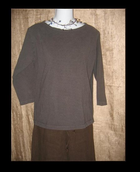 CUT LOOSE Soft Brown Striped Knit Pullover Top Shirt Large L