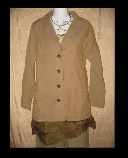 SOLITAIRE Linen Button Jacket Top Engelhart Flax Small S