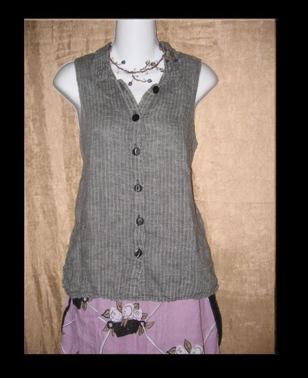 FLAX Black Waves SODA POP Tank Shirt Top Jeanne Engelhart Petite P
