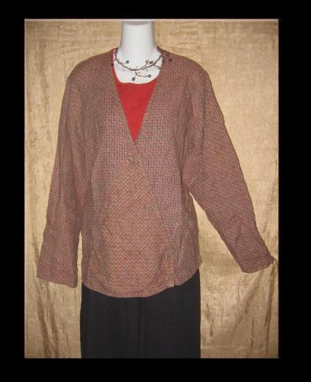FLAX by Jeanne Engelhart Linen Diagonal Jacket Top Medium M