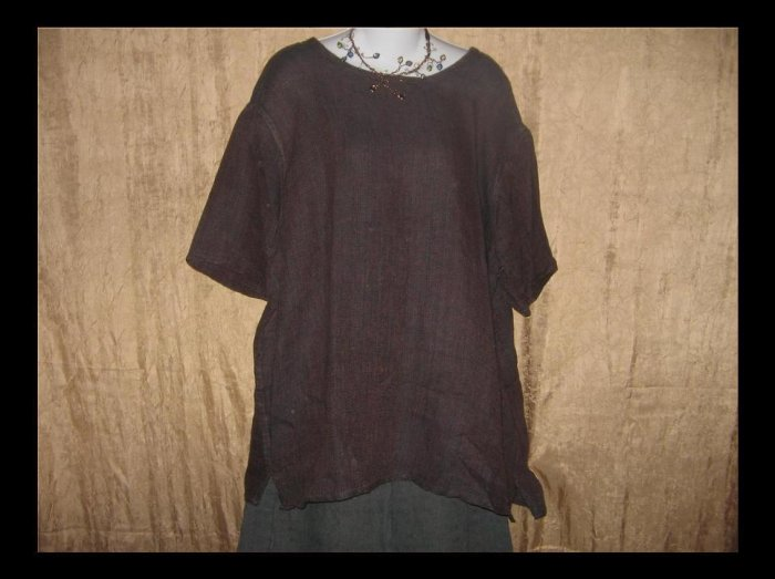 FLAX Jeanne Engelhart Bark Clothe Linen Pullover Shirt Tunic Top Large L