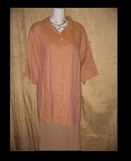 FLAX by Jeanne Engelhart LINEN Hawaii Sunrise Shirt Top Large L