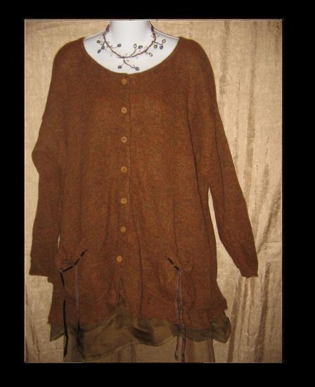 NEESH by D.A.R. Brown Tunic Cardigan Sweater w Ribbon Pockets Medium Large M L