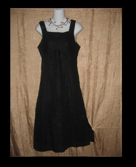 SOLITAIRE Shapely Black LINEN DRESS Engelhart FLAX Small S