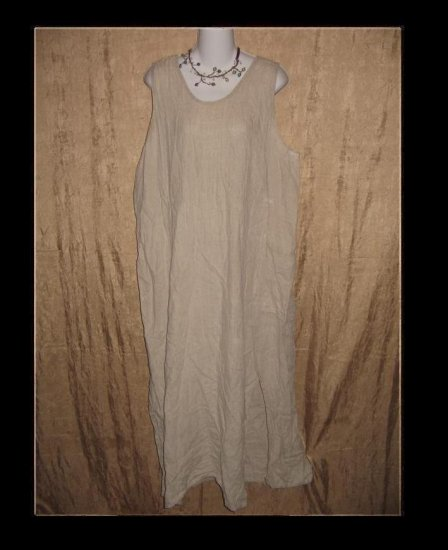 FLAX Jeanne Engelhart Long LINEN Jump Dress Large L