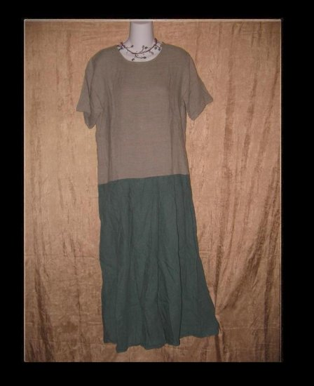 FLAX by Jeanne Engelhart Teal Striped Box Pleated Dress Small S