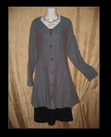 FLAX by Jeanne Engelhart Night Sky Jubilation Jacket Shapely Tunic Top Dress Medium M