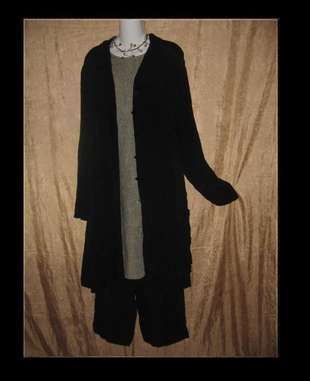 FLAX by Jeanne Engelhart Long Black Tunic Top Shirt Jacket Large L