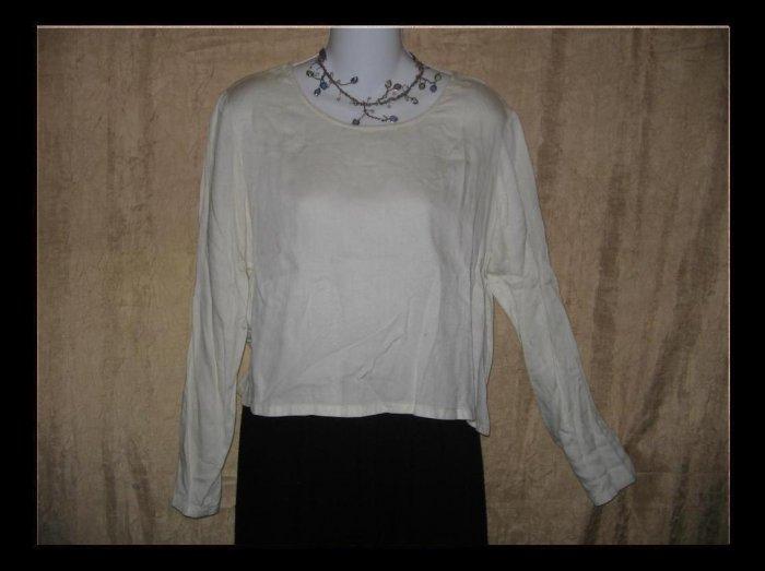 PUTUMAYO Soft White Rayon Boxy Pullover Shirt Top Small S