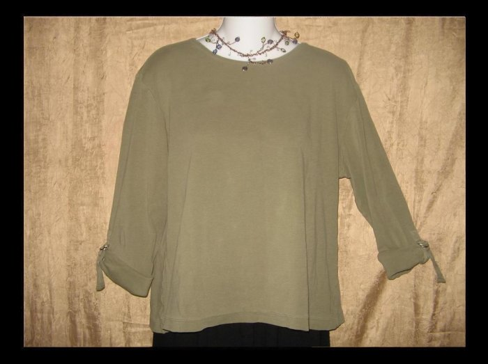 Chico's Design Olive Drab Knit Rolled Sleeve Pullover Shirt Top Size 3 L XL