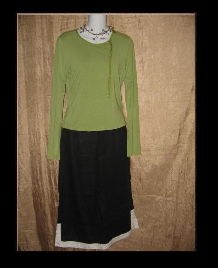 NEESH by D.A.R. Green Ribbon Knit Pullover Shirt Top Medium