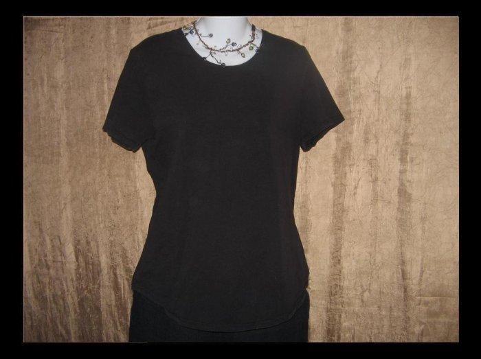 reFLAXation Black Knit Tee Shirt Top Jeanne Engelhart FLAX Small S