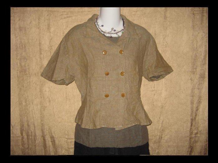 Flax by Jeanne Engelhart LINEN Mushroom Gemini Shirt Top Large L