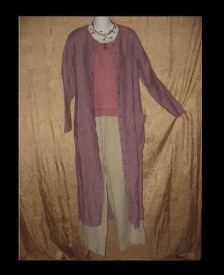 FLAX by Jeanne Engelhart Purple Crossweave Long Duster Dress