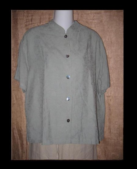 J. Jill Blue Gray Floral Weave Rayon Button Shirt Top Large L