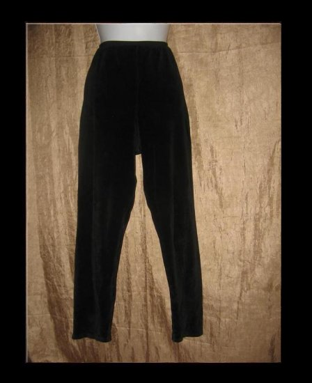 FLAX by Jeanne Engelhart BLACK VELOUR Leggings Pants Large L