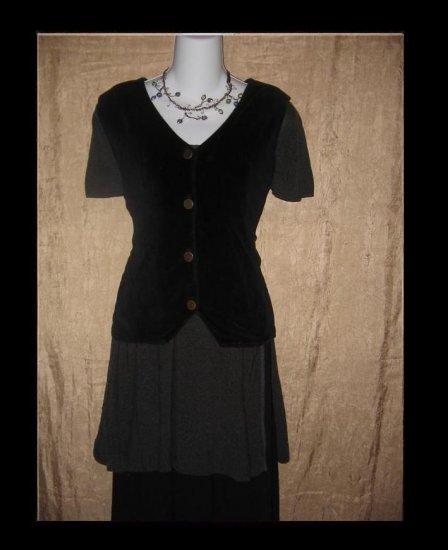 Jeanne Engelhart Flax Black Cotton Velour Vest Small S
