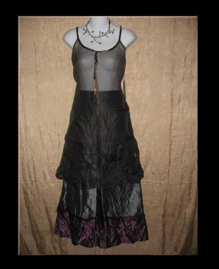 Neesh by D.A.R. Pewter & Purple Ribbon Trim Acetate Skirt Medium Large M L