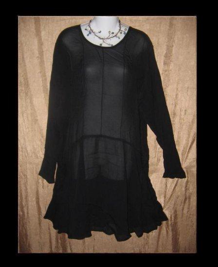 Angelheart Designs by Jeanne Engelhart Long Black Tunic Top Dress Shirt FLAX  Medium M