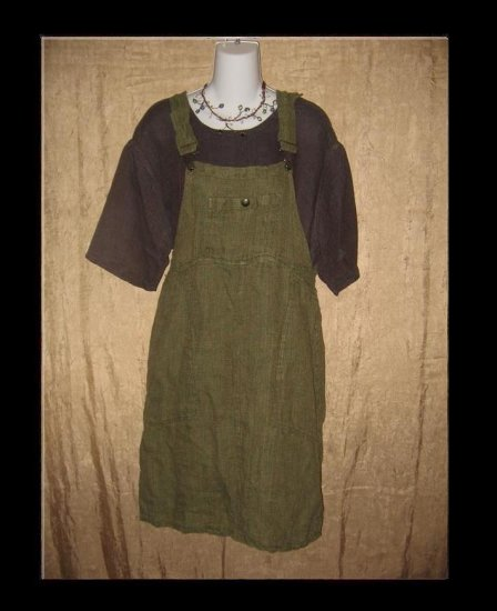 FLAX Adjustable Bark Cloth LINEN Jump Dress Jeanne Engelhart Petite P
