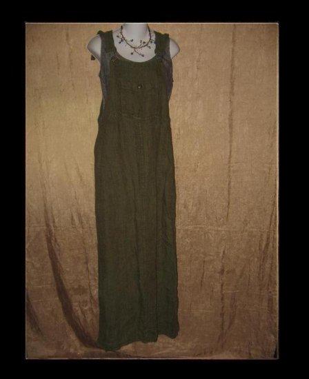 FLAX Adjustable Bark Cloth LINEN Jump Dress Jeanne Engelhart Medium M