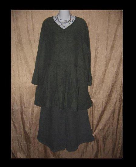 FLAX by Jeanne Engelhart Green Thermal LINEN Tunic Top Dress Shirt Medium M