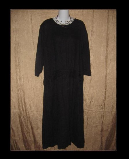 FLAX Black LINEN Twenties Theme Dress Jeanne Engelhart Small S