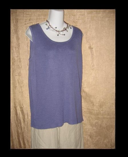 EILEEN FISHER Blue Linen Knit Pullover Tank Shirt Top Medium M
