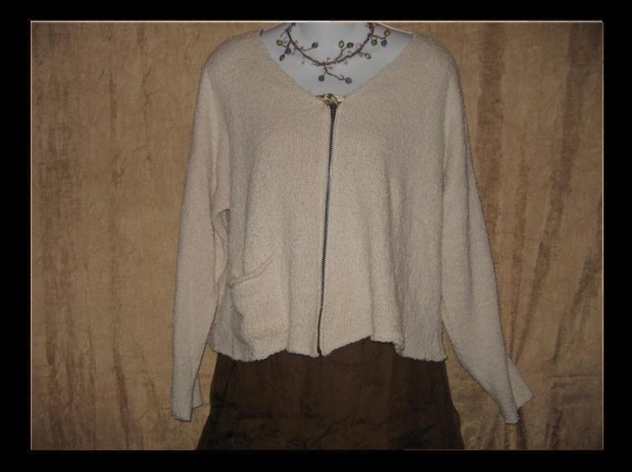 FLAX by Angelheart Jeanne Engelhart Cream Cropped Zipper Cardigan Sweater S M