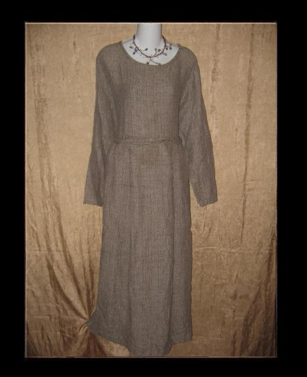 FLAX by Jeanne Engelhart Thermal Linen Story Dress Large L