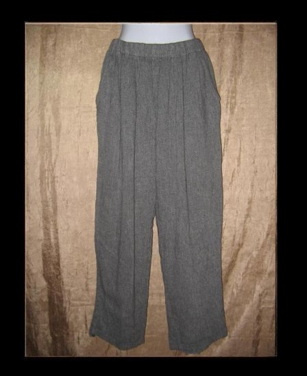 EILEEN FISHER Soft Gray Linen Slacks Pants Large L