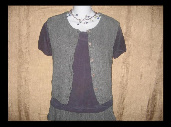 EILEEN FISHER New York Gray Linen Vest Top Large L
